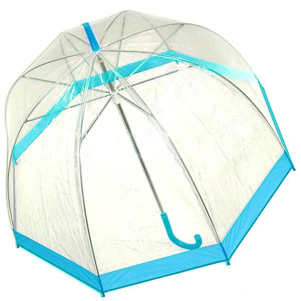 Зонт-трость женский Эврика, механика, цвет: прозрачный, голубой. 94292 ( 94292 )