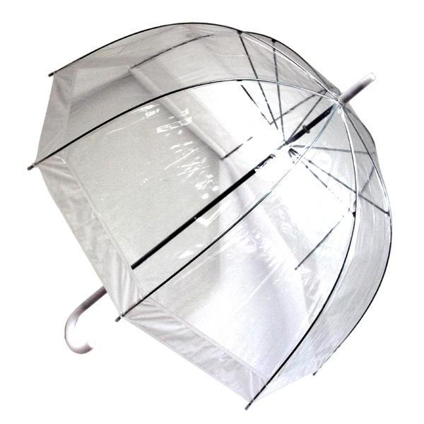 Зонт женский Эврика Прозрачный купол, цвет: прозрачный, белый. 94861