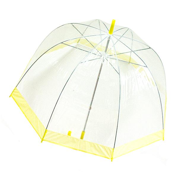 Зонт-трость женский Эврика, механика, 3 сложения, цвет: прозрачный, желтый. 94862 ( 94862 )