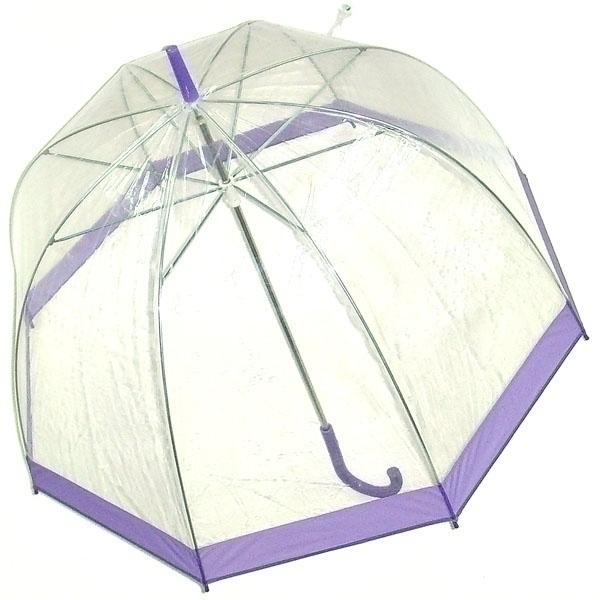 Зонт-трость женский Эврика, механика, 3 сложения, цвет: прозрачный, сиреневый. 94864 ( 94864 )