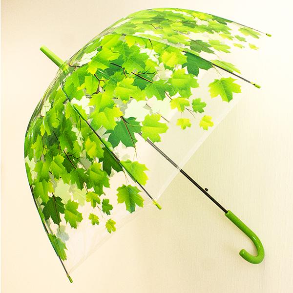 Зонт женский Эврика Листья, цвет: зеленый. 9656696566Зонт-трость Эврика выполнен из прозрачного полиэтилена и оформлен принтом в виде кленовых листьев. Благодаря своему изяществу и утонченности орнамента он способен украсить даже самый пасмурный день. Лёгкий, практичный зонт-полуавтомат послужит верным спутником дамы, желающей выглядеть стильно в любую погоду.