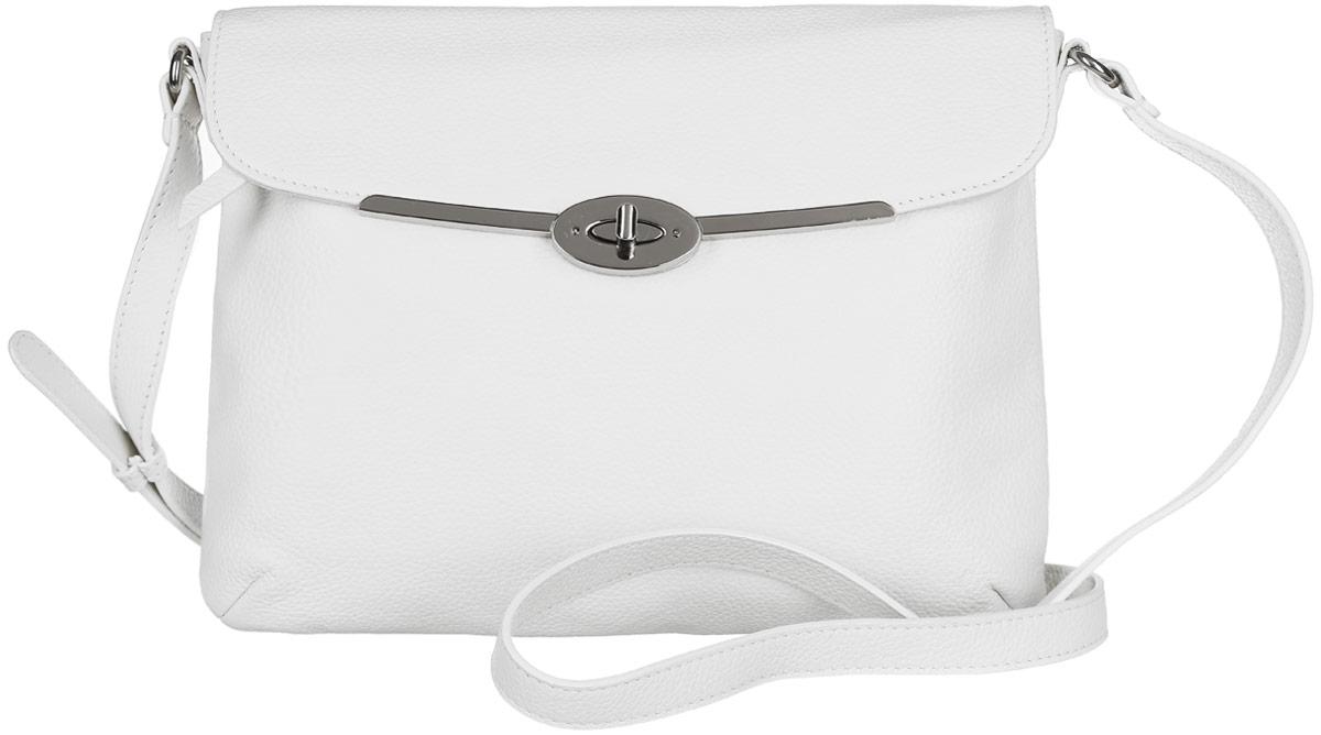 Сумка женская Palio, цвет: белый. 14137AR-W1-065/02214137AR-W1-065/022 whiteСтильная сумка Palio, выполненная из натуральной кожи с зернистой фактурой, оформлена символикой бренда и металлической фурнитурой. Изделие застегивается на застежку-молнию и дополнительно клапаном на замок-вертушку. Внутри расположены два накладных кармашка для мелочей и врезной карман на молнии. Снаружи, на задней стороне изделия, расположен врезной карман на молнии. Лицевая сторона также дополнена врезным карманом на молнии, который расположен под клапаном. Изделие оснащено практичным плечевым ремнем регулируемой длины. К сумке прилагается фирменный чехол для хранения. Элегантная сумка прекрасно дополнит ваш образ.