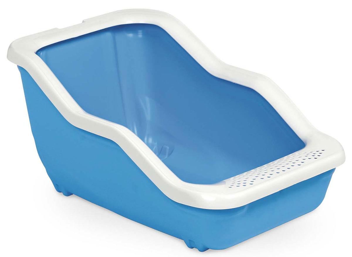Туалет-лоток MPS Netta Open, с рамкой, 54х39х29 см, цвет: голубойS08100103Туалет-лоток Netta - лучшее решение для содержания кошек и небольших собак. Современный и высококачественный пластик не впитывает неприятные запахи, которые так не любят животные, а также существенно упрощает процедуру уборки туалета - легко моется и быстро сохнет. Специальные широкие бортики, на которые питомец может встать, помогают сохранить его лапки чистыми и сухими.