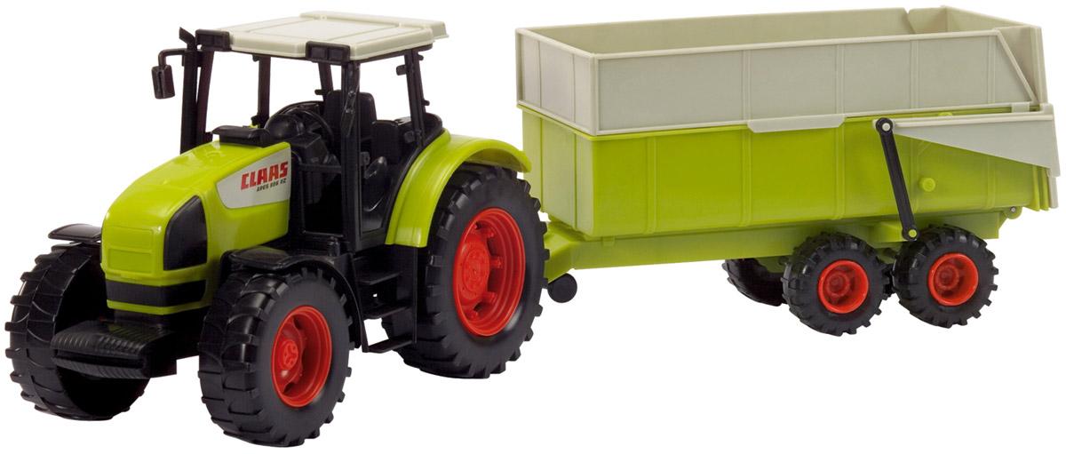 Dickie Toys Трактор с прицепом Claas Ares 836 RZ3739000Трактор с прицепом Dickie Toys Claas Ares 836 RZ - мощный агрегат сельскохозяйственной техники. Следует заметить, что трактор имеет детализированный и тщательно проработанный кузов, благодаря чему выглядит очень реалистично. Модель оснащена огромными задними колесами и передними колесами меньшего диаметра, оборудованной водительской кабиной, имеется даже имитация зеркала заднего вида. Прицеп трактора функциональный: поднимается и опускается, его можно зафиксировать в поднятом положении на этапе выгрузки. С этой игрушкой ваш малыш будет часами занят игрой. Порадуйте его таким замечательным подарком!