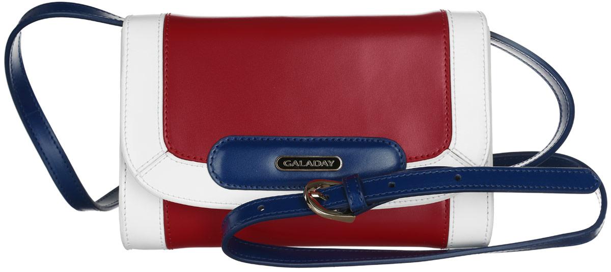 Сумка женская Galaday, цвет: красный, синий, белый. GD4728GD4728-redСтильная сумка Galaday, выполненная из натуральной кожи с гладкой фактурой, оформлена металлической фурнитурой с символикой бренда. Изделие застегивается клапаном на магнитную кнопку. Внутри расположены три накладных кармашка для мелочей, один из которых застегивается на молнию, а другой на кнопку. Изделие оснащено наплечным ремнем регулируемой длины. К сумке прилагается фирменный чехол для хранения. Элегантная сумка прекрасно дополнит ваш образ.