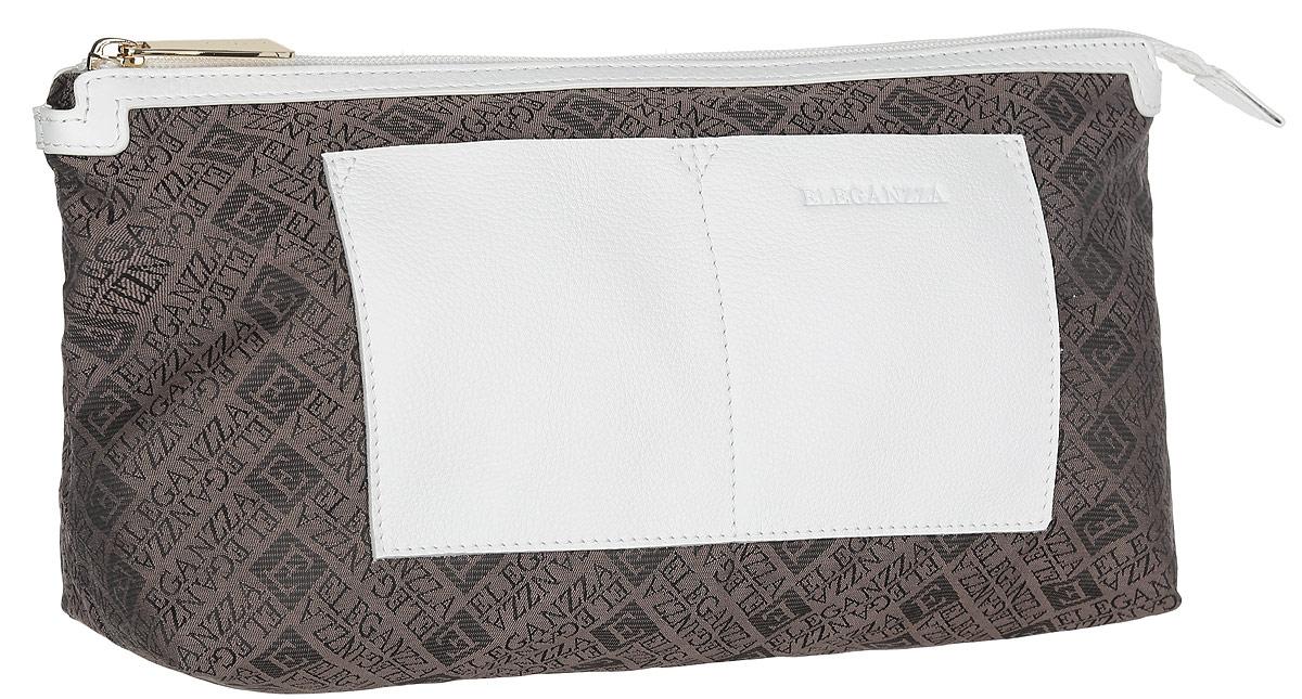 Косметичка женская Eleganzza, цвет: коричневый, белый. Z-14790Z-14790Стильная женская косметичка Eleganzza, выполнена из текстиля и натуральной кожи, оформлена символикой бренда и тиснением в виде логотипа бренда. Изделие содержит одно вместительное отделение, которое закрывается на застежку-молнию. На лицевой стороне косметички расположены два накладных кармашка. Практичный аксессуар вместит в себя все необходимое, позволит вам завершить образ и быть неотразимой.