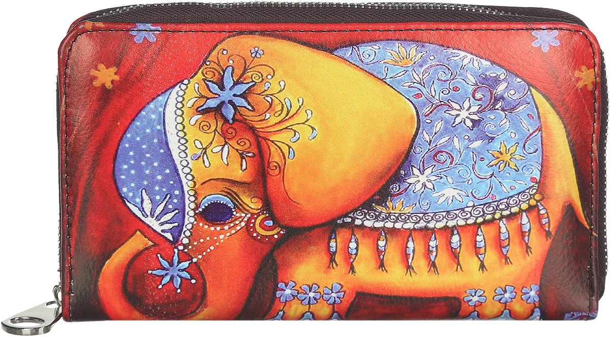 Кошелек женский Модные истории, цвет: мультиколор. 3/0226/6033/0226/603Яркий женский кошелек Модные истории изготовлен из искусственной кожи. Кошелек оформлен красочным рисунком очаровательного слоненка. Внутри находятся три отделения для купюр, два боковых открытых кармана, карман на молнии для мелочи и 12 кармашков для визиток и карт (по шесть с каждой стороны). Изделие оснащено съемным ремешком с замком-карабином для удобства ношения на запястье. Кошелек закрывается на застежку-молнию. Оригинальный дизайн и стильный декор в сочетании с удобством и вместительностью делают этот аксессуар незаменимым.
