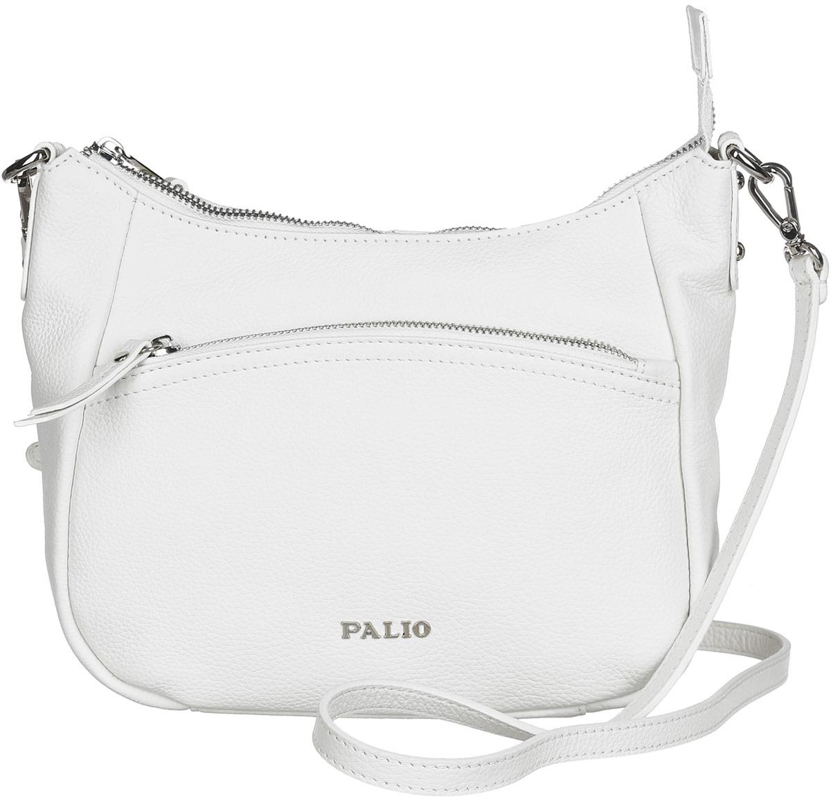 Сумка женская Palio, цвет: белый. 13738A-06513738A-065 whiteСтильная сумка Palio, выполненная из натуральной кожи с зернистой фактурой, оформлена символикой бренда и металлической фурнитурой. Изделие застегивается на застежку-молнию, внутри расположены два накладных кармашка для мелочей и врезной карман на молнии. Снаружи, на задней стороне изделия, расположен врезной карман на молнии. Лицевая сторона также дополнена врезным карманом на молнии. Изделие оснащено практичным плечевым ремнем регулируемой длины. К сумке прилагается фирменный чехол для хранения. Элегантная сумка прекрасно дополнит ваш образ.