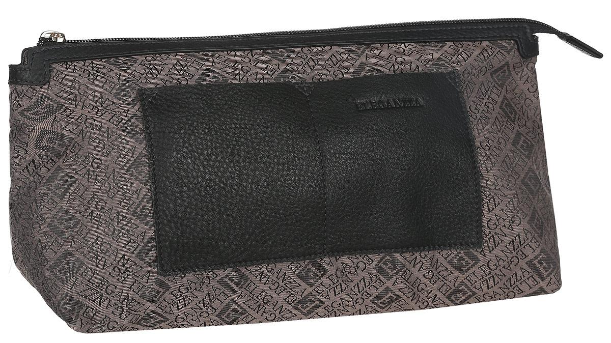 Косметичка женская Eleganzza, цвет: коричневый, черный. Z-14790Z-14790Стильная женская косметичка Eleganzza, выполнена из текстиля и натуральной кожи, оформлена символикой бренда и тиснением в виде логотипа бренда. Изделие содержит одно вместительное отделение, которое закрывается на застежку-молнию. На лицевой стороне косметички расположены два накладных кармашка. Практичный аксессуар вместит в себя все необходимое, позволит вам завершить образ и быть неотразимой.