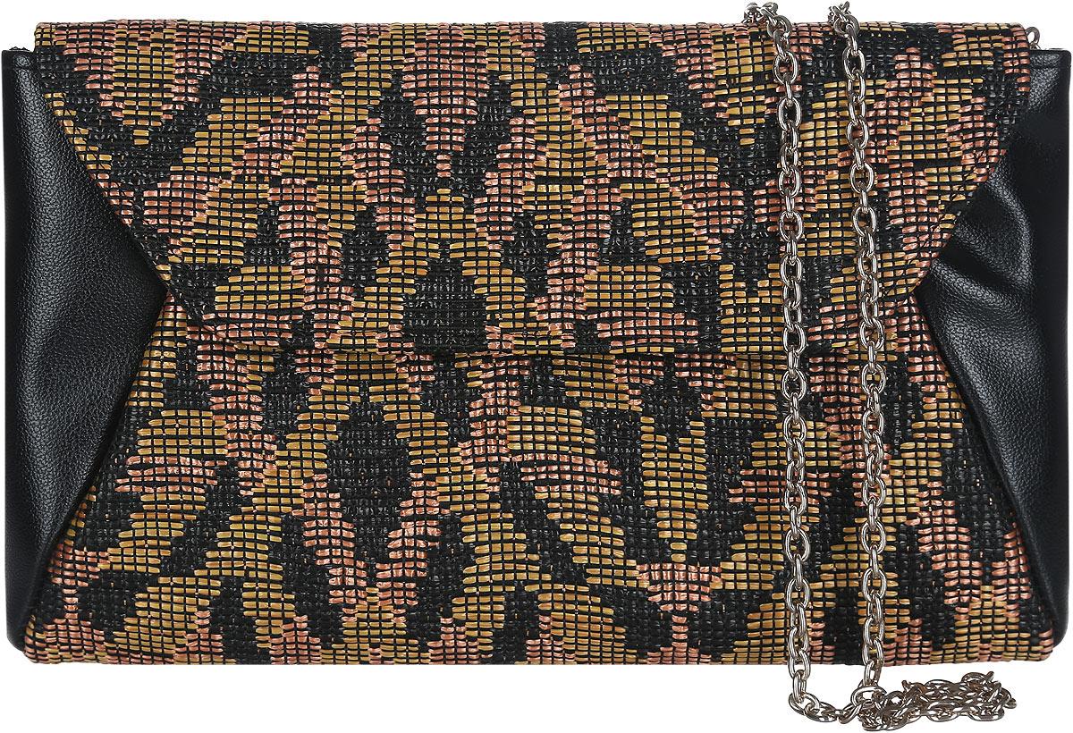 Клатч женский Eleganzza, цвет: черный, мультиколор. ZZ-5393ZZ-5393Изысканный женский клатч Eleganzza выполнен из искусственной кожи и текстиля. Текстильная часть изделия выполнена плетением. Изделие имеет одно основное отделение, закрывающееся на клапан с магнитной кнопкой. Внутри расположен небольшой накладной открытый карман. Лицевая сторона дополнена открытым карманом под клапаном. Модель оснащена плечевым ремнем в виде цепочки. Роскошный клатч внесет элегантные нотки в ваш образ и подчеркнет ваше отменное чувство стиля.