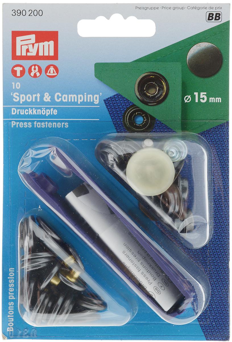 Кнопки Prym Sport & Camping, цвет: черный, диаметр 15 мм, 10 шт390200Кнопки Prym Sport & Camping изготовлены из латуни. Оснащены отверстием для фиксации. Нижняя часть отбортована. В комплекте - 10 пар кнопок и пластиковый инструмент для установки. Используются при ремонте и пошиве одежды. Идеально подходит для сумок, верхней и другой одежды из тяжелой ткани. Диаметр кнопок: 15 мм.