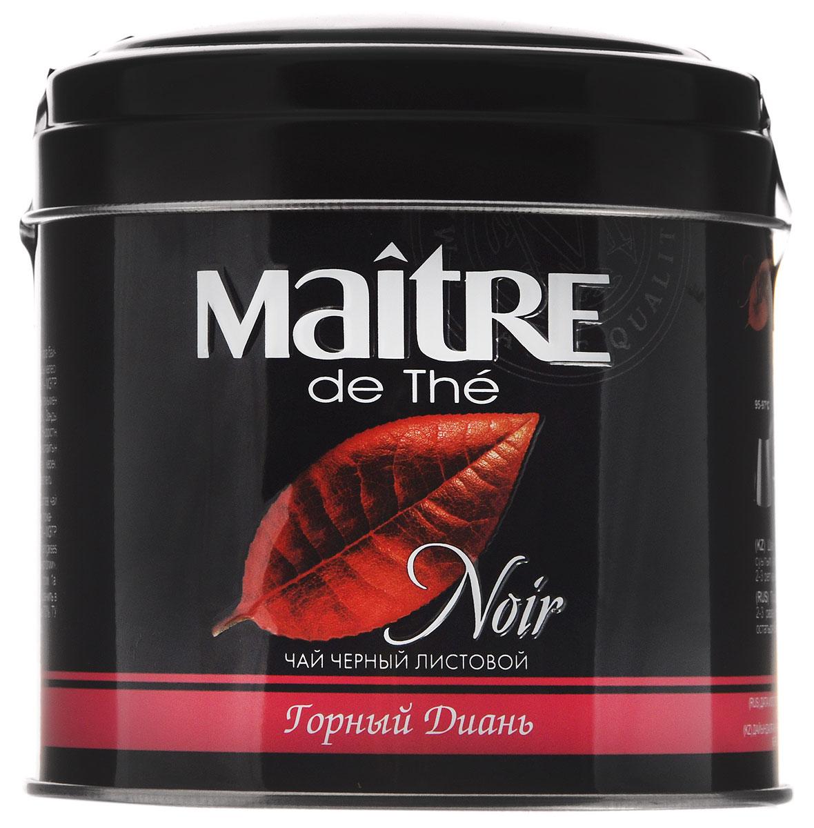 Maitre de The Горный диань черный листовой чай, 100 г (жестяная банка)бар110рЧерный листовой чай из китайской провинции Юннань. Обладает насыщенным медовым вкусом и цветочным ароматом.