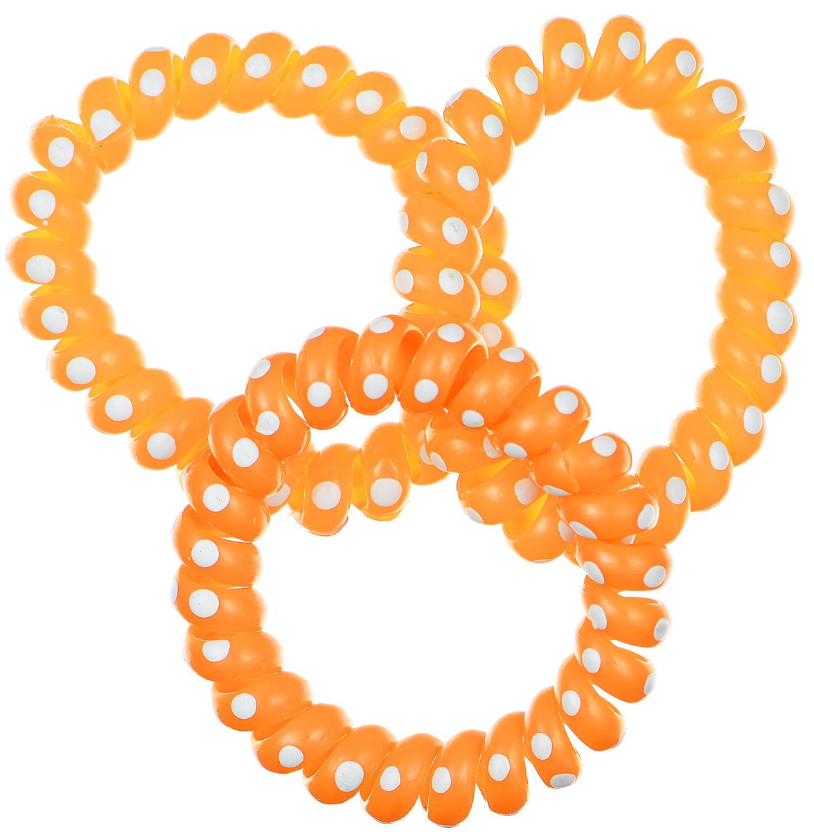 Резинка-браслет для волос Mitya Veselkov, цвет: оранжевый, 3 шт. REZ2-LORAREZ2-LORAЯркие резинки-браслеты Mitya Veselkov выполнены из качественной резины и оформлены принтом в горошек. Столь необычная форма резинок дает множество преимуществ. Резинка не оставляет заломов на волосах. При длительном ношении, снимая ее, вы не почувствуете усталость волос. Оригинально смотрится на волосах. Отлично сохраняет свою форму и надежно фиксирует прическу. Не мокнет. Не травмирует волосы. В отличие от обычных резинок, нет трения, зажимов отдельных волосков или прядей. Также их можно использовать как стильные браслеты.