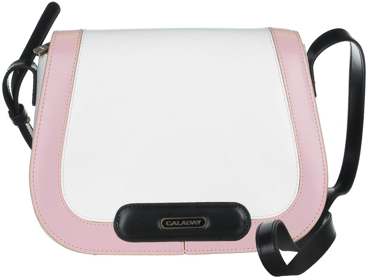 Сумка женская Galaday, цвет: белый, черный, розовый. GD4727GD4727-whiteСтильная сумка Galaday, выполненная из натуральной кожи с гладкой фактурой, оформлена металлической фурнитурой с символикой бренда. Изделие застегивается на застежку-молнию и дополнительно клапаном на магнитную кнопку. Внутри расположены два накладных кармашка для мелочей, врезной карман на молнии и карман-средник на молнии. Изделие оснащено наплечным ремнем регулируемой длины. К сумке прилагается фирменный чехол для хранения. Элегантная сумка прекрасно дополнит ваш образ.