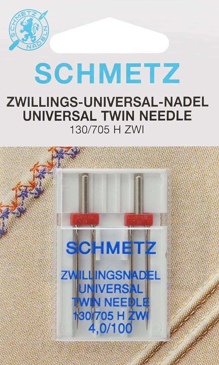"""Иглы для бытовых швейных машин """"Schmetz"""", универсальные, двойные, №100, 4 мм, 2 шт 70:40.2.DES"""