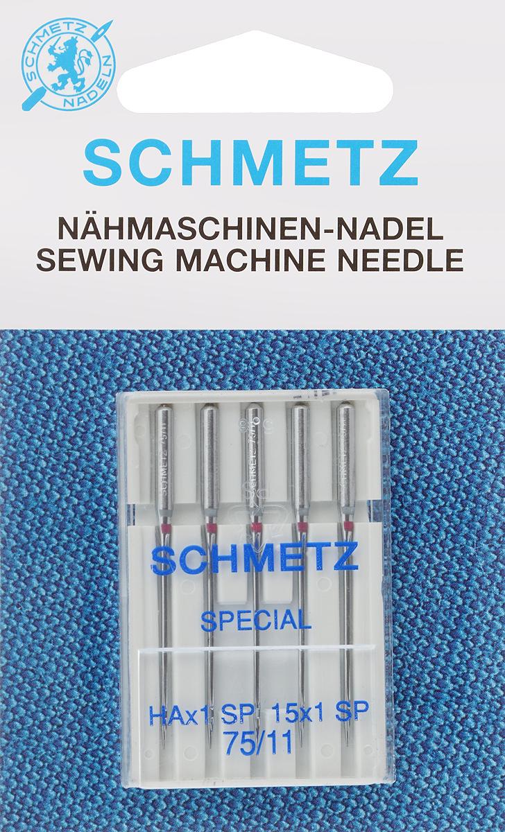 Иглы для бытовых швейных машин Schmetz, для трикотажа, №75, 5 шт22:82.FB1.VMSСпециальные иглы Schmetz, выполненные из хрома, подходят для бытовых швейных машин всех марок. В набор входят иглы, которые идеально подходят для всех трикотажных материалов. Каждая игла имеет цветовой код. В комплекте пластиковый футляр для переноски и хранения. Система игл: HAx1 SP. Номера игл: 75/11.
