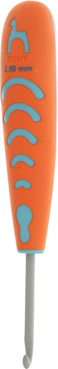 Крючок для вязания Pony, с эргономичной ручкой, диаметр 3,5 мм, длина 13 см59807Крючок Pony выполнен из алюминия и оснащен прорезиненной пластиковой ручкой. Крючок предназначен для вязания и плетения из ниток, ручного изготовления полотна. Идеально гладкая головка и стержень крючка обеспечивают равномерное скольжение петель. Эргономичная, приятная на ощупь рукоятка обеспечивает удобное и безопасное вязание без усталости. Вязание крючком применяют как для изготовления одежды целиком, так и отделочных элементов одежды или украшений. Вы сможете вязать для себя и делать подарки друзьям. Работа, сделанная своими руками, долго будет радовать вас и ваших близких.