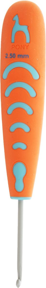 Крючок для вязания Pony, с эргономичной ручкой, диаметр 2,5 мм, длина 13 см59803Крючок Pony выполнен из алюминия и оснащен прорезиненной пластиковой ручкой. Крючок предназначен для вязания и плетения из ниток, ручного изготовления полотна. Идеально гладкая головка и стержень крючка обеспечивают равномерное скольжение петель. Эргономичная, приятная на ощупь рукоятка обеспечивает удобное и безопасное вязание без усталости. Вязание крючком применяют как для изготовления одежды целиком, так и отделочных элементов одежды или украшений. Вы сможете вязать для себя и делать подарки друзьям. Работа, сделанная своими руками, долго будет радовать вас и ваших близких.