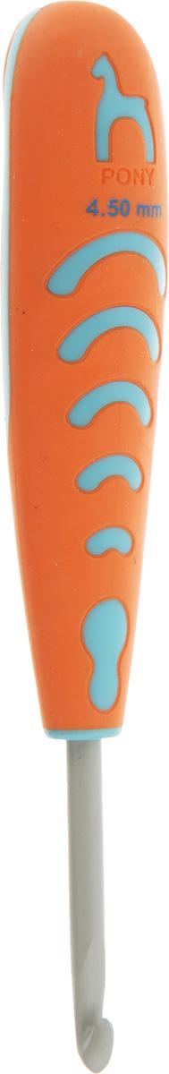 Крючок для вязания Pony, с эргономичной ручкой, диаметр 4,5 мм, длина 13 см59810Крючок Pony выполнен из алюминия и оснащен прорезиненной пластиковой ручкой. Крючок предназначен для вязания и плетения из ниток, ручного изготовления полотна. Идеально гладкая головка и стержень крючка обеспечивают равномерное скольжение петель. Эргономичная, приятная на ощупь рукоятка обеспечивает удобное и безопасное вязание без усталости. Вязание крючком применяют как для изготовления одежды целиком, так и отделочных элементов одежды или украшений. Вы сможете вязать для себя и делать подарки друзьям. Работа, сделанная своими руками, долго будет радовать вас и ваших близких.