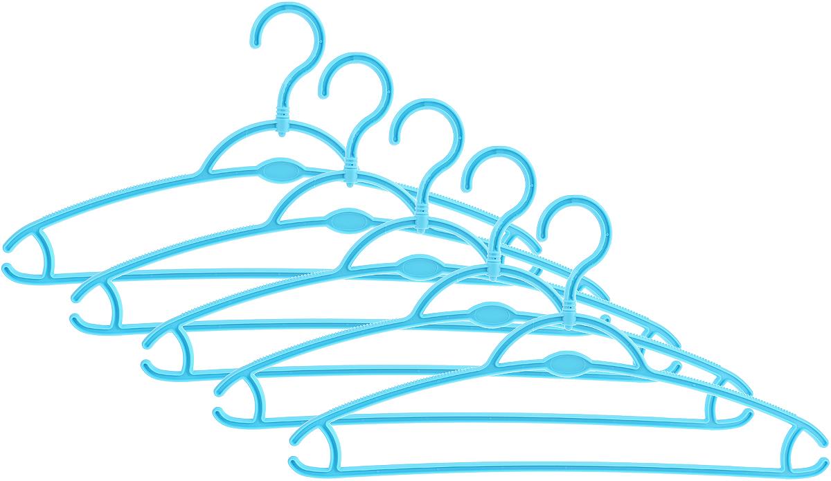 Вешалка для одежды York, вращающаяся, цвет: голубой, 5 шт. 67016701_голубойВешалка для одежды York изготовлена из сложных полимеров (пластик). Наличие вращающегося крючка позволяет располагать вешалки под любым углом. Благодаря рельефной верхней поверхности одежда не будет скользить и падать с вешалки. Изделие имеет перекладину, отверстие и два крючка. Подходит для брюк, блузок, шарфов, галстуков. Незаменимый аксессуар для аккуратного хранения вещей.