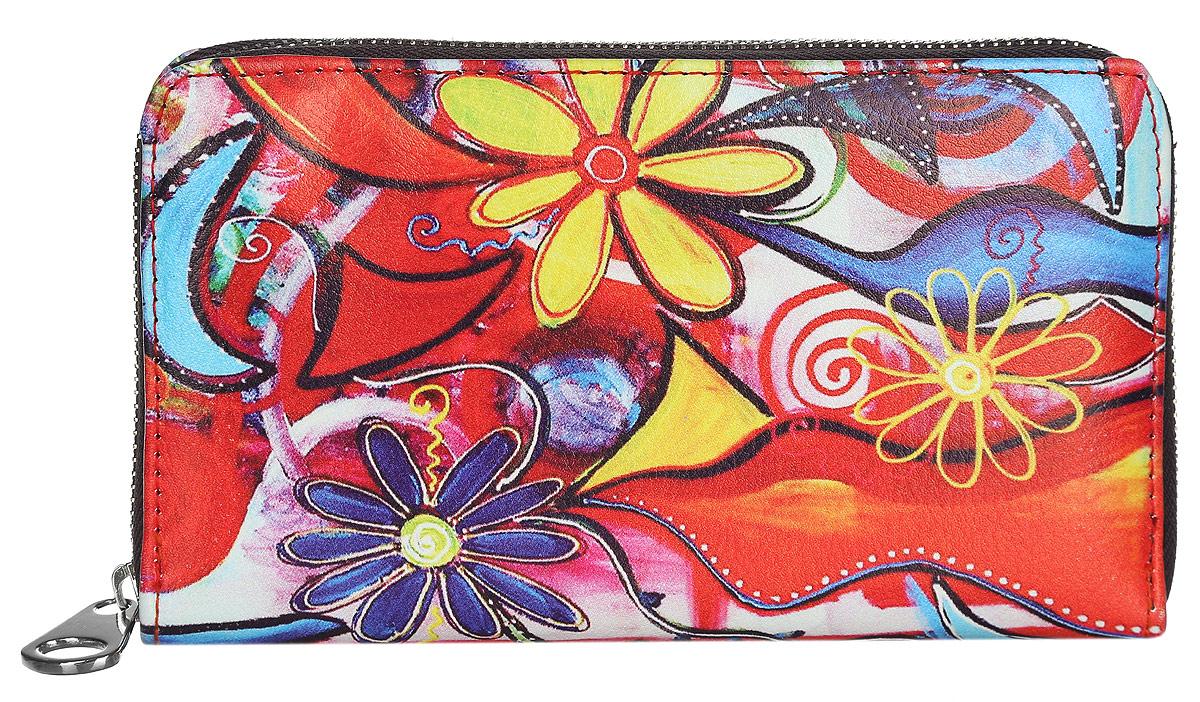 Кошелек женский Модные истории, цвет: мультицвет. 3/0226/6063/0226/606Практичный кошелек Модные истории изготовлен из искусственной кожи, оформлен принтом с изображением цветов. Изделие содержит одно отделение, закрывающееся на застежку-молнию. Внутри расположены три отделения для купюр, отделение для монет на молнии, два потайных кармашка и 12 кармашков для пластиковых карточек. Кошелек дополнен съемной петлей для переноски на запястье. Практичный аксессуар вместит в себя все необходимое, позволит вам завершить образ и быть неотразимой.