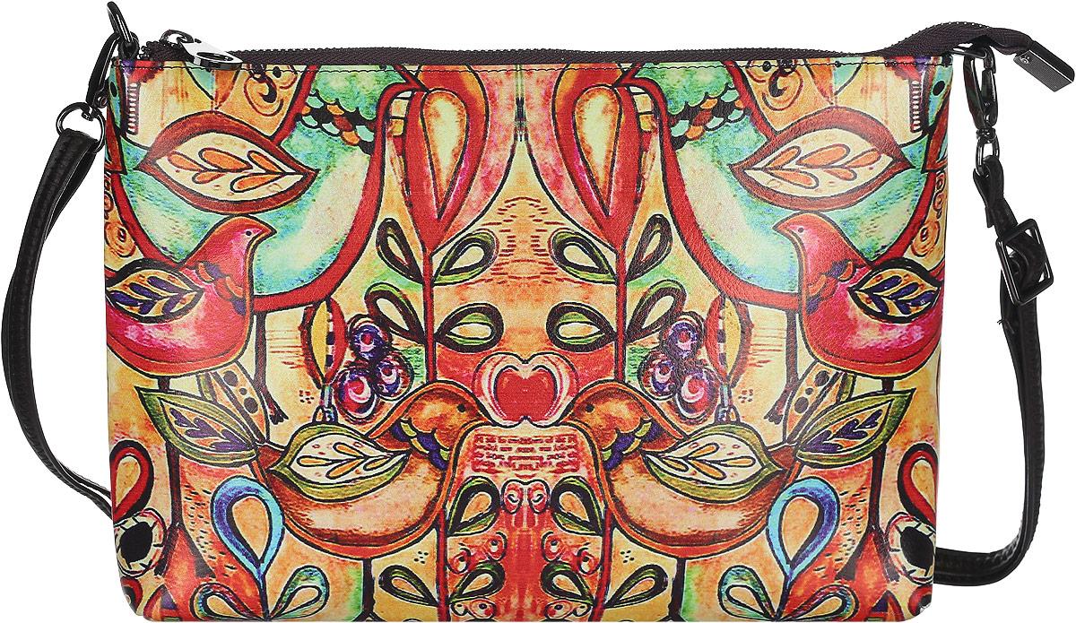 Клатч женский Модные истории, цвет: мультиколор. 3/0225/6073/0225/607Яркий и стильный клатч Модные истории выполнен из искусственной кожи. Изделие оформлено оригинальным красочным принтом. Клатч имеет одно отделение, которое закрывается на застежку-молнию. Отделение содержит карман-средник на молнии, накладной карман и врезной карман на молнии. Изделие оснащено съемным наплечным ремнем, регулируемым по длине. Клатч Модные истории прекрасно завершит ваш праздничный образ.