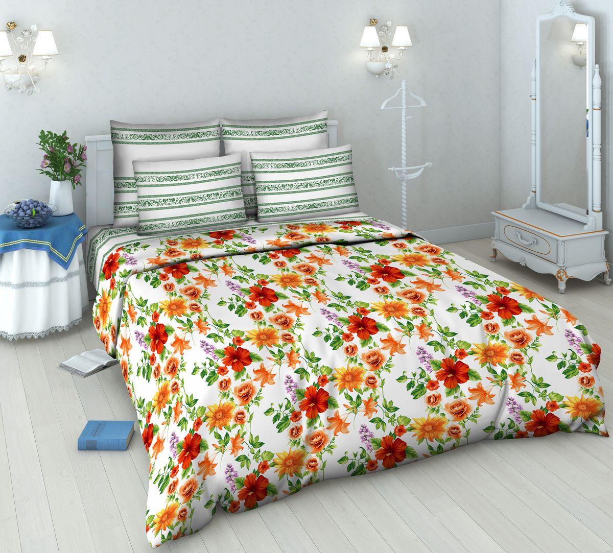 Комплект белья Василиса Цветочное ассорти, 2-спальный, наволочки 70х70, цвет: белый, зеленый, красный5485/2Комплект постельного белья Василиса Цветочное ассорти состоит из пододеяльника, простыни и двух наволочек. Дизайн - цветочный. Белье изготовлено из бязи (100% хлопка) - гипоаллергенного, экологичного, высококачественного, крупнозакрученного волокна, благодаря чему эта ткань мягкая, нежная на ощупь и очень прочная, не образует катышков на поверхности. При соблюдении рекомендаций по уходу, это белье выдерживает много стирок (более 70), не линяет и не теряет свою первоначальную прочность. Уникальная ткань обеспечивает легкую глажку. Приобретая комплект постельного белья Василиса Цветочное ассорти, вы можете быть уверенны в том, что покупка доставит вам удовольствие и подарит максимальный комфорт.