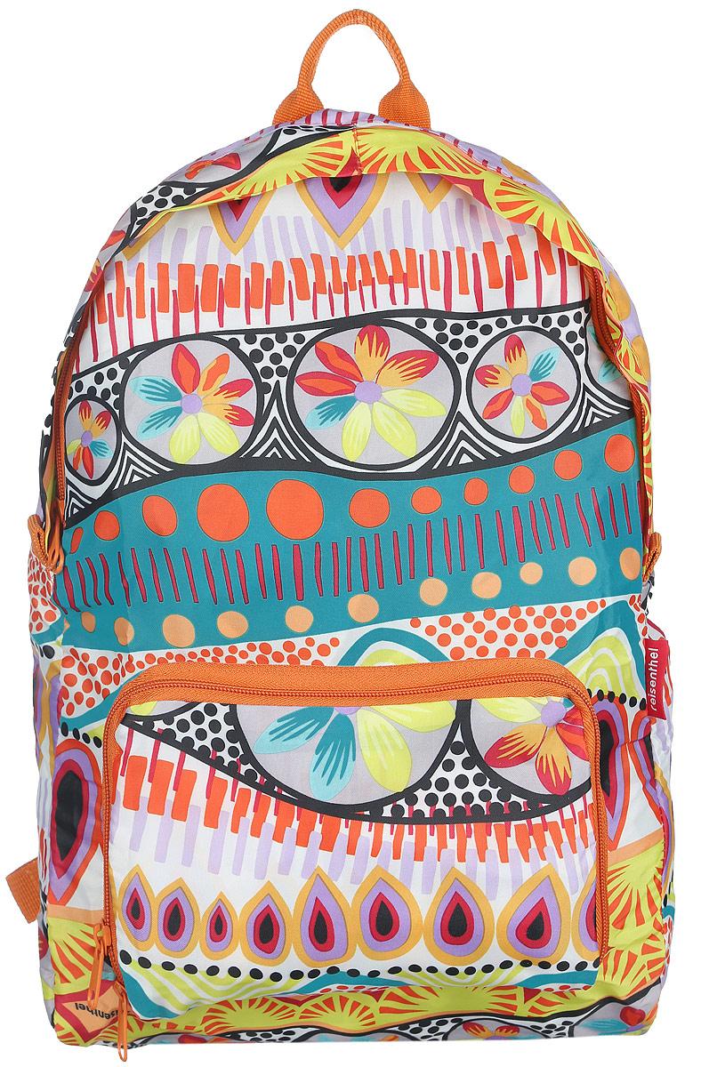 Рюкзак женский Reisenthel, складной, цвет: оранжевый, мультицвет. AP2020AP2020Стильный женский рюкзак Reisenthel изготовлен из полиэстера с оригинальным принтом. Изделие имеет одно отделение, которое закрывается на застежку-молнию с двумя бегунками. Снаружи, на передней стенке расположен накладной карман на застежке-молнии, в который рюкзак складывается и приобретает компактный вид. Изделие оснащено двумя текстильными лямками, которые регулируется по длине, и удобной ручкой. Такой рюкзак эффектно дополнит ваш образ и станет незаменимым в повседневной жизни или в путешествии.