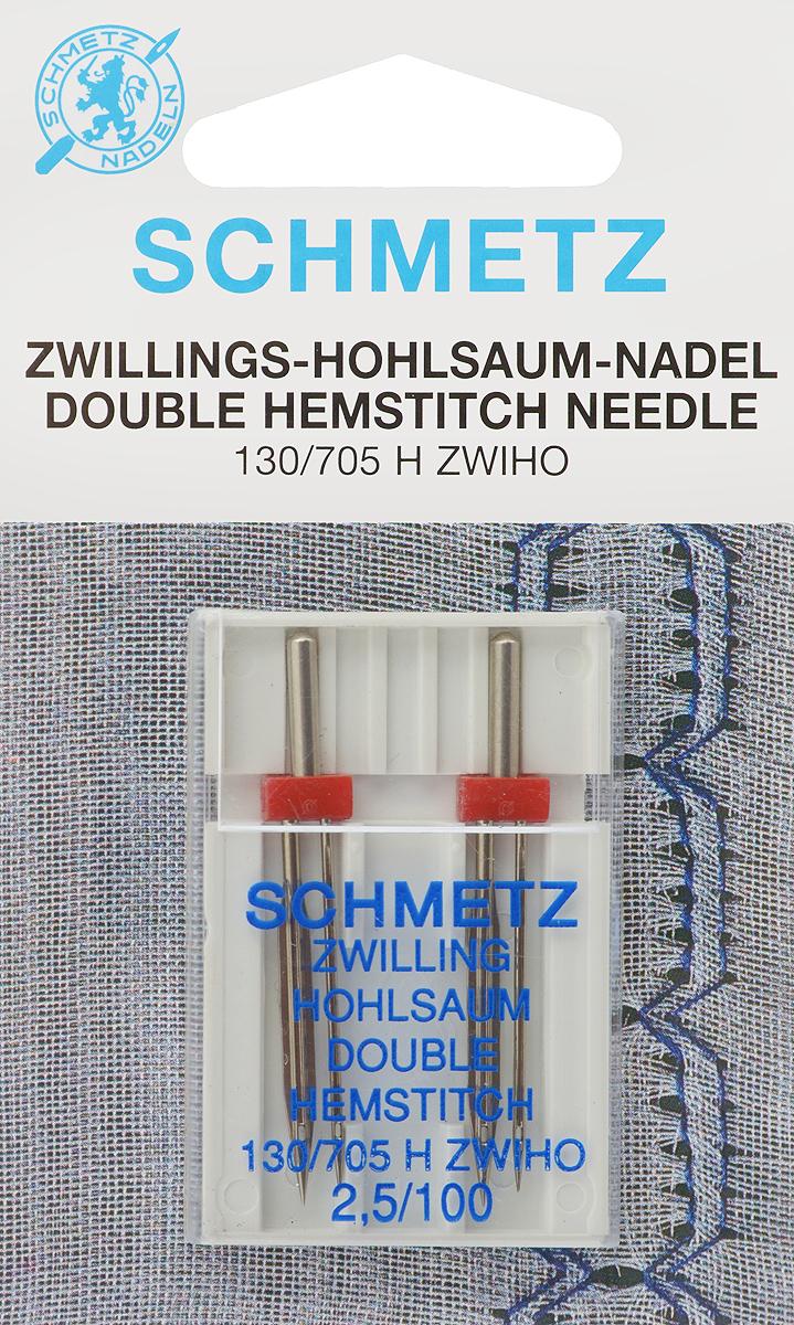 Иглы Schmetz для машинной вышивки в технике мережка, двойные, №100, 2,5 мм, 2 шт90:25.2.SESСпециальные двойные иглы Schmetz, выполненные из никеля, подходят для бытовых вышивальных машин всех марок. Иглы предназначены для выполнения вышивки в технике мережка. В комплекте пластиковый футляр для переноски и хранения. Система иглы: 130/705 H ZWIHO. Номер иглы: 100. Расстояние между иглами: 2,5 мм.