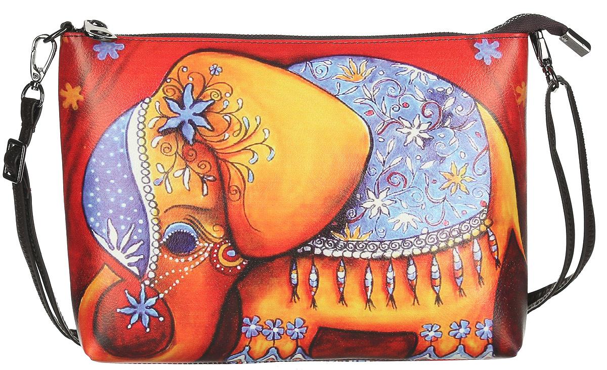 Клатч Модные истории, цвет: красный, желтый, голубой. 3/0225/6033/0225/603Стильный клатч Модные истории, выполненный из искусственной кожи, оформлен принтом с изображением слона. Изделие содержит одно отделение, закрывающееся на застежку-молнию. Внутри сумки размещены карман-средник на молнии, накладной кармашек для мелочей и врезной карман на молнии. Изделие оснащено съемным плечевым ремнем регулируемой длины. Модная сумка идеально подчеркнет ваш неповторимый стиль.