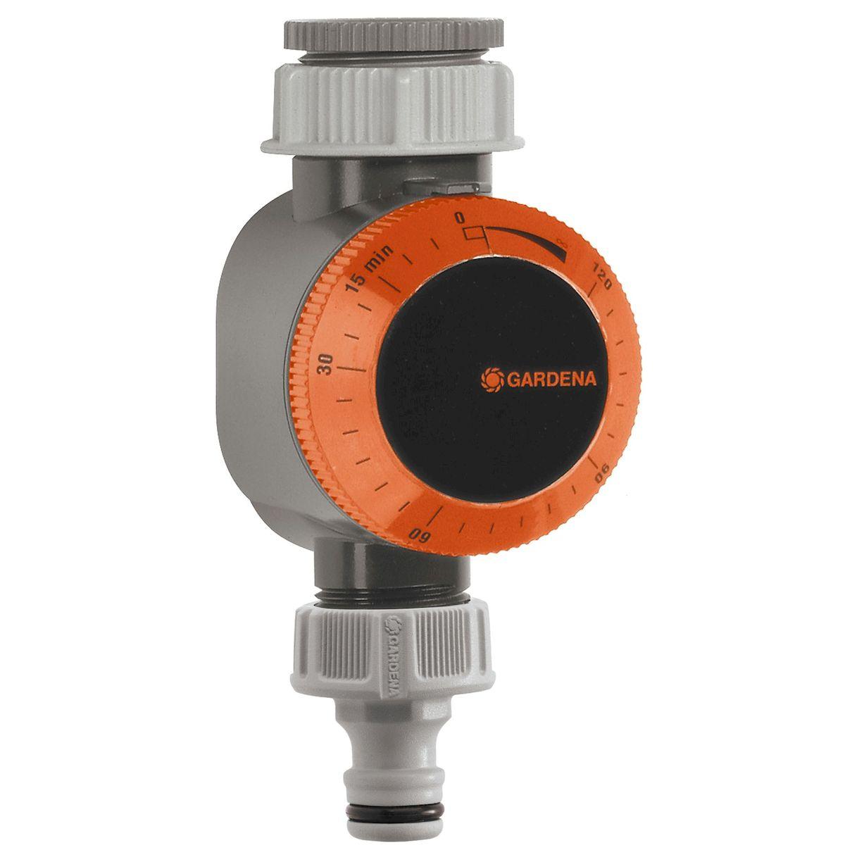 Таймер подачи воды Gardena01169-29.000.00Таймер подачи воды Gardena крепится к водопроводному крану и используется для автоматического выключения используемой вами системы полива, например, дождевателей или Системы Микрокапельного полива. По окончании программирования таймер сразу включает поливочное устройство и выключает его в заданное время. Предусмотрена возможность установки режима постоянного расхода воды. Для работы таймера батарейки не требуются. Продолжительность полива 5-120 мин; Электропитание - механическое; Рабочее давление - 0.5 - 12 бар; Соединительная резьба для водопроводного крана 26,5 мм (G 3/4), 33,3 мм (G 1).