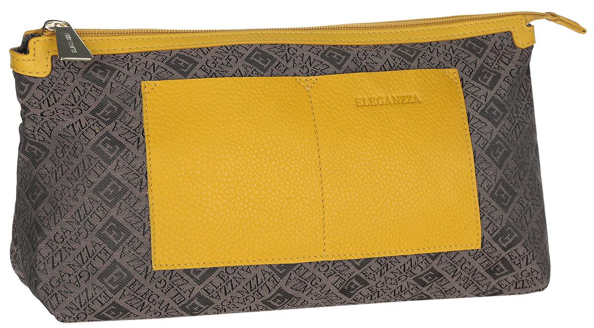 Косметичка женская Eleganzza, цвет: коричневый, желтый. Z-14790