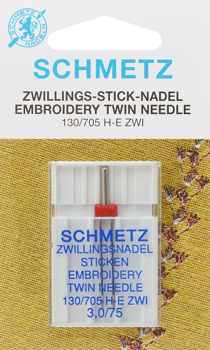 Игла для машинной вышивки Schmetz, двойная, №75, 3 мм72:30.EB2.SMSСпециальная игла Schmetz, выполненная из никеля, подходит для бытовых вышивальных машин всех марок. Игла предназначена для выполнения машинной вышивки. В комплекте пластиковый футляр для переноски и хранения. Система иглы: 130/705 H-E ZWI. Номер иглы: 75. Расстояние между иглами: 3 мм.