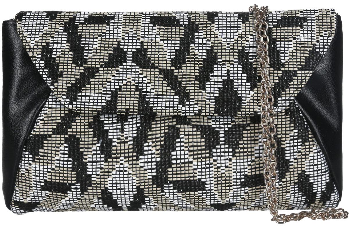 Клатч женский Eleganzza, цвет: черный, белый, бежевый. ZZ-5393ZZ-5393Изысканный женский клатч Eleganzza выполнен из искусственной кожи и текстиля. Текстильная часть изделия выполнена плетением. Изделие имеет одно основное отделение, закрывающееся на клапан с магнитной кнопкой. Внутри расположен небольшой накладной открытый карман. Лицевая сторона дополнена открытым карманом. Модель оснащена плечевым ремнем в виде цепочки. Роскошный клатч внесет элегантные нотки в ваш образ и подчеркнет ваше отменное чувство стиля.