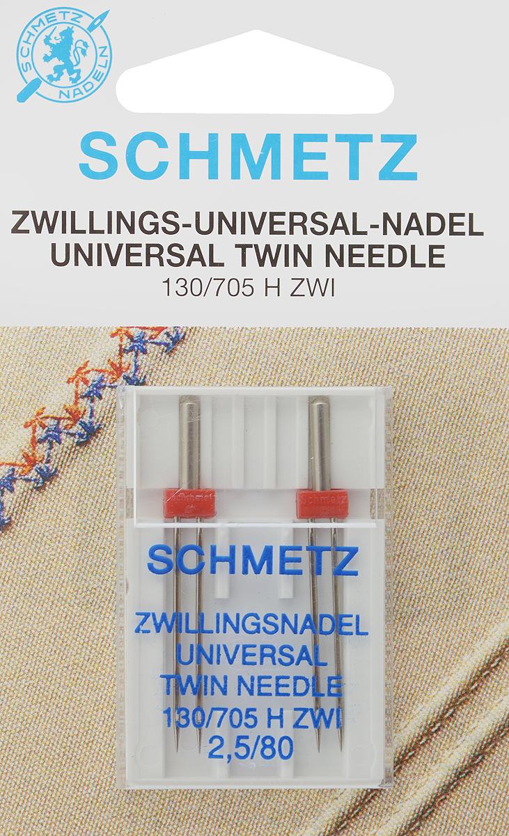 Иглы для бытовых швейных машин Schmetz, универсальные, двойные, №80, 2,5 мм, 2 шт70:25.2.DCSУниверсальные двойные иглы Schmetz, выполненные из никеля, подходят для бытовых швейных машин всех марок. Они предназначены для декоративной отделки и выполнения защипов на всех тканых материалах, а также для подшивания низа изделий из трикотажа. В комплекте пластиковый футляр для переноски и хранения. Система игл: 130/705 H ZWI. Номер иглы: 80. Расстояние между иглами: 2,5 мм.