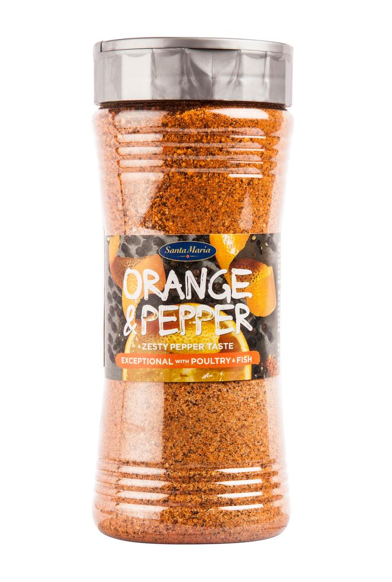Santa Maria Апельсиновый перец, 300 г17924Апельсиновый перец – это сбалансированное сочетание апельсина и ароматного перца чили. Подходит для блюд из рыбы, морепродуктов, птицы, мяса, баранины, а также для маринадов, соусов и салатных заправок. Уважаемые клиенты! Обращаем ваше внимание, что полный перечень состава продукта представлен на дополнительном изображении.