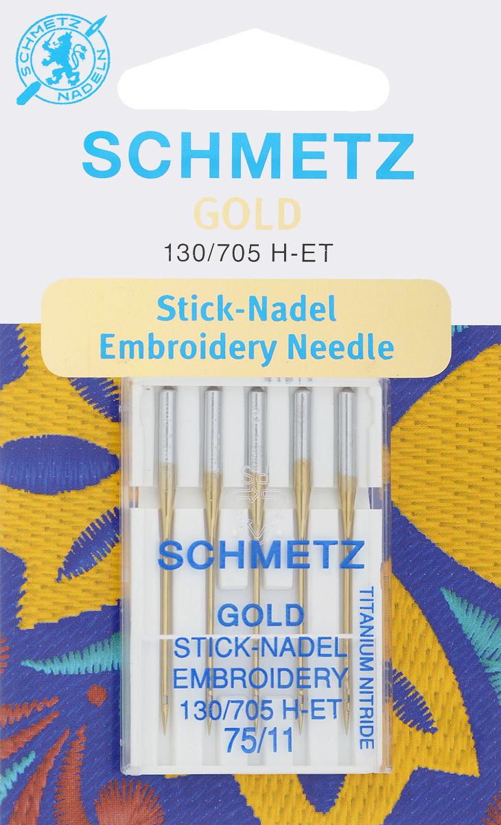 Игла для машинной вышивки Schmetz Gold, №75, 5 шт22:70.EB9.VMSСпециальная игла Schmetz Gold, выполненная из нитрида титана, подходит для бытовых вышивальных машин всех марок. Игла предназначена для выполнения машинной вышивки. В комплекте пластиковый футляр для переноски и хранения. Система иглы: 130/705 H-ET. Номер иглы: 75/11.