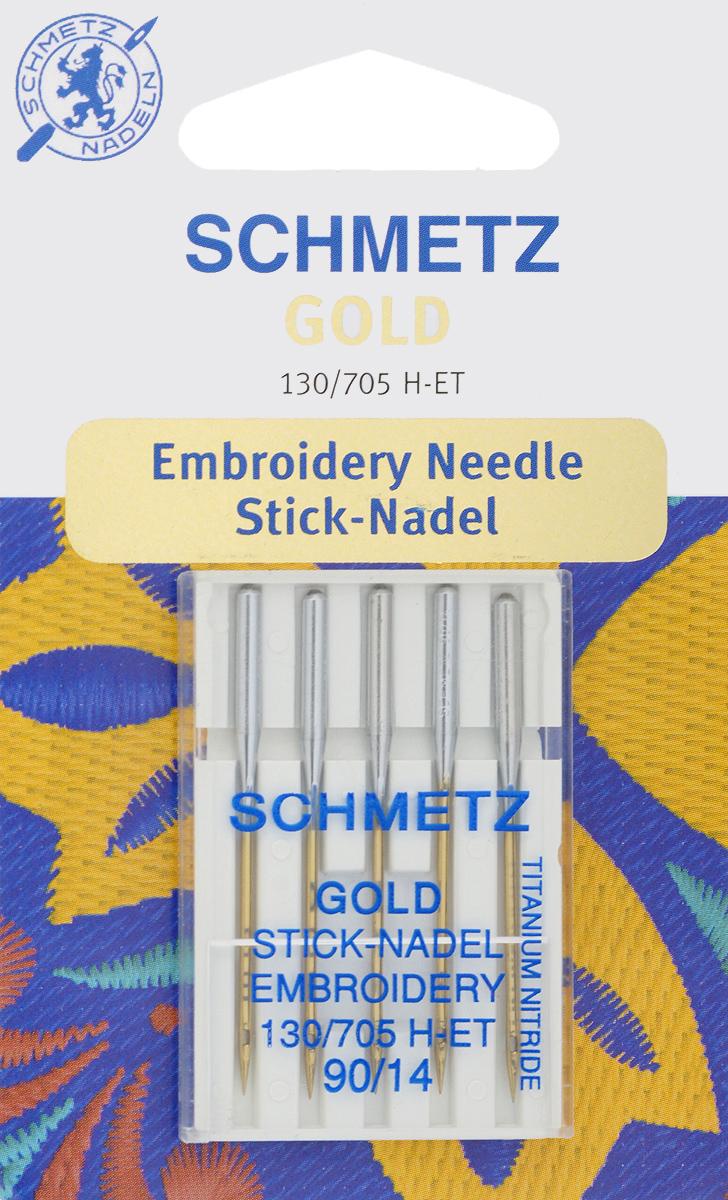 Игла для машинной вышивки Schmetz Gold, №90, 5 шт22:70.EB9.VDSСпециальная игла Schmetz Gold, выполненная из нитрида титана, подходит для бытовых вышивальных машин всех марок. Игла предназначена для выполнения машинной вышивки. В комплекте пластиковый футляр для переноски и хранения. Система иглы: 130/705 H-ET. Номер иглы: 90/14.