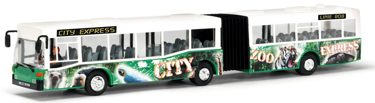 Dickie Toys Автобус-экспресс цвет белый зеленый3827000Автобус-экспресс Dickie Toys привлечет внимание вашего ребенка и не позволит ему скучать. Игрушка является уменьшенной копией настоящего автобуса с гибкой гармошкой. Автобус оснащен открывающимися с помощью колесиков дверьми, сменным табло с названием остановок и прорезиненными колесами. Внутри салона расположены ряды пассажирских кресел. Остается только подобрать фигурки, подходящие по размеру, и можно отправляться в увлекательное путешествие! Машинка оснащена инерционным механизмом: достаточно немного подтолкнуть игрушку вперед или назад, а затем отпустить, и она сама поедет в этом же направлении. Ваш ребенок будет часами играть с автобусом, воспроизводя различные истории из городской жизни. Порадуйте его таким замечательным подарком!