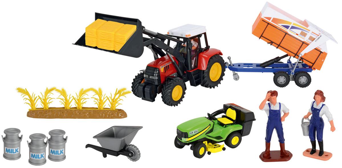 Dickie Toys Игровой набор Ферма 33145593314559Игровой набор Dickie Toys Ферма понравится любому ребенку, который любит играть и создавать фермерские городки. Ведь благодаря данному набору можно придумать разнообразные сюжетно-ролевые игры с сельскохозяйственным транспортом - трактором с прицепами, передним ковшом и газонокосилкой. Уникальность данного транспорта заключается в том, что он является точной копией настоящего трактора. Масштаб игрушки - 1/24. Кроме транспорта и прицепов в набор входят аксессуары: стопы сена, фигурки людей, тачка, посевы пшеницы, бидоны для молока и многое другое. Ваш малыш сможет часами играть с этим набором, фантазируя и придумывая различные истории. Набор предоставит ему широкий простор для фантазии и игр.