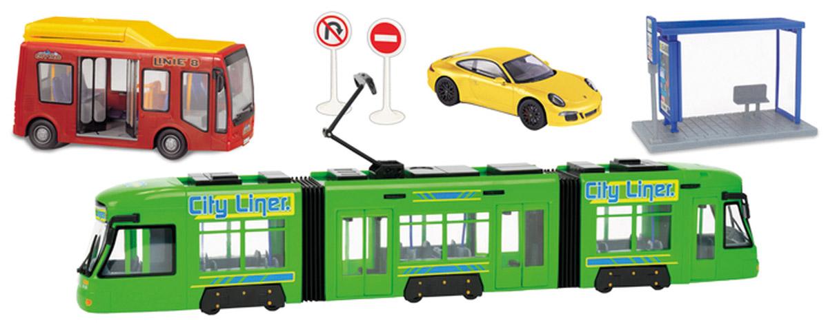 Dickie Игровой набор City Liner Set3829001Игровой набор Dickie Toys City Liner Set. Городской транспорт привлечет внимание вашего ребенка и не позволит ему скучать. Набор состоит из остановки, двух дорожных знаков, машинки, автобуса и трамвая. Дизайн элементов набора очень реалистичен. У трамвая открываются и закрываются двери, а также поднимается и опускается элемент, приводящий его в движение по рельсам. Внутри трамвая предусмотрены кресла и поручни. У автобуса открываются и закрываются входные двери, а также дверки, расположенные на крыше. Заднюю крышку автобуса можно поднять для имитации ремонта. Остановка дополнена задней прозрачной стенкой, лавочкой и табличкой с расписание движений транспорта. Колеса машинки прорезинены. Ваш маленький непоседа с удовольствием будет играть с этим набором, придумывая различные истории. Порадуйте его таким замечательным подарком!