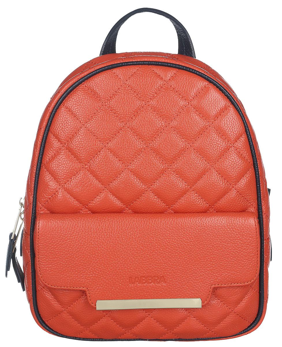 Рюкзак женский Labbra, цвет: оранжевый. L-9915-3L-9915-3Стильный женский рюкзак Labbra, выполненный из натуральной кожи с зернистой фактурой, оформлен тиснением в виде логотипа бренда и декоративной строчкой. Изделие содержит одно основное отделение, закрывающееся на застежку-молнию. Внутри расположены два накладных кармана для мелочей и врезной карман на застежке-молнии. Снаружи, на передней стенке находится накладной карман, закрывающийся клапаном на магнит. Задняя сторона изделия дополнена потайным карманом на застежке-молнии. Рюкзак оснащен удобными лямками регулируемой длины и петлей для подвешивания. Практичный и стильный аксессуар позволит вам завершить свой образ и быть неотразимой.
