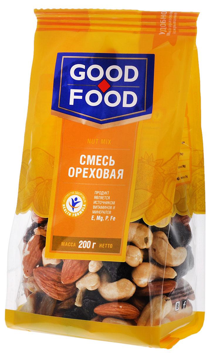 Good Food смесь ореховая, 200 г4620000677246Смесь Ореховая - это вкусный и полезный снек. Смесь включает в себя бразильский орех, изюм golden и black jumbo, кешью, миндаль и фундук.