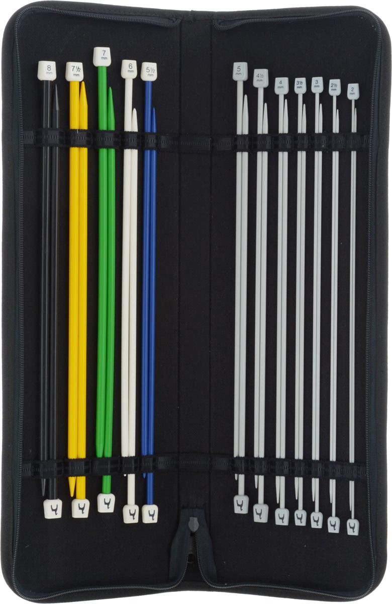 Набор прямых спиц Pony, в пенале, 24 шт62407Набор Pony состоит из 5 пар пластиковых спиц и 7 пар алюминиевых спиц. Они подойдут ко многим видам пряжи. Изделия оснащены пластиковыми ограничителями, которые препятствуют соскальзыванию петель. В набор входят спицы разнообразных размеров. Спицы хранятся в текстильном пенале с фиксаторами. Диаметр спиц: 3 мм; 3,25 мм; 3,75 мм; 4 мм; 4,5 мм; 5 мм; 5,5 мм; 6 мм; 6,5 мм; 7 мм; 7,5 мм; 8 мм. Размер пенала: 50 х 16 х 3,5 см.