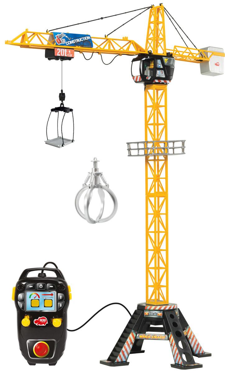 Dickie Toys Башенный кран Mega Crane3462412Башенный кран Dickie Toys Mega Crane, имеющий кабельное дистанционное управление - это прекрасный подарок для маленького строителя. Является точной копией настоящего крана. С помощью крана малыш сможет поднимать и перемещать груз. Левый рычаг на пульте управления поможет переместить грузовую тележку по стрелке подъемного крана. А правый рычаг необходим при регулировке поворота стрелы. Максимально возможный угол поворота - это 360°. Кнопки на пульте нужны для регулировки высоты поднимаемого груза. В основании крана имеется широкая платформа для обеспечения устойчивости игрушки. Также в комплекте вместительная корзина для груза, которая цепляется за крючок. С краном Dickie Toys Mega Crane ребенок сможет развернуть настоящую строительную площадку. Играя в сюжетно-ролевые игры, ребенок развивает фантазию, пространственное мышление и адаптируется через игру к окружающему миру. При управлении пультом будет развиваться моторика пальчиков. Высота крана 120 см. Для...