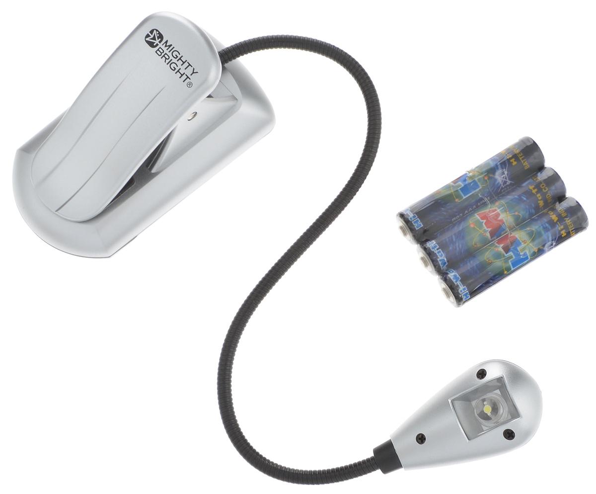 Мини-лампа для рукоделия Mighty Bright, на клипсе, цвет: серебристый, 1 светодиод60432Лампа Mighty Bright, выполненная из высококачественного пластика и металла, оснащена одним светодиодом, который не требует замены. Изделие имеет гибкий держатель и универсальную подставку с прищепкой. Лампу можно крепить к книге или фиксировать на столе. Такая лампа идеально подходит для занятий рукоделием или для чтения книг. Лампа работает от 3 батареек типа ААА напряжением 1,5V (в комплект входят). Прилагается инструкция на английском языке. Количество ламп: 1 шт. Размер подставки: 7 х 4 х 4 см. Длина гибкого держателя: 20 см. Размер лампы: 4,2 х 2 х 1,5 см.
