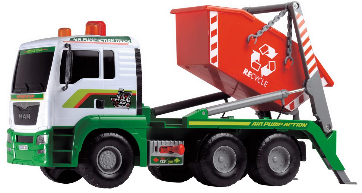 Dickie Toys Мусоровоз MAN с большим контейнером3809002Мусоровоз Dickie Toys MAN с большим контейнером непременно понравится вашему ребенку. Игрушка выполнена из прочного пластика в виде мощного мусоровоза. Контейнер мусоровоза может подниматься и опускаться с помощью помпового насоса. Для подъема контейнера нужно переключить рычажок режимов, расположенный в основании платформы, в правое положение, после чего несколько раз нажать на кнопку на крыше кабины. С каждым нажатием контейнер будет подниматься все выше. Для опускания контейнера рычажок переключается в левое положение, после чего также используется кнопка на крыше кабины. С этой игрушкой ваш малыш будет часами занят игрой. Порадуйте его таким замечательным подарком!