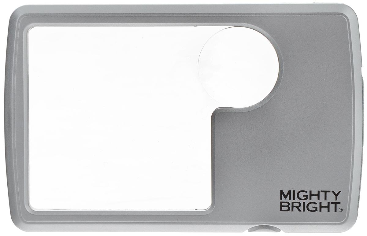 Лупа бифокальная Mighty Bright, с подсветкой для портмоне, с чехлом87022Небольшая прямоугольная плоская лупа Mighty Bright с бифокальной линзой, дает двух и шестикратное увеличение. Четкое неискаженное изображение, подсвеченное светодиодной лампой. Лупа работает от двух литиевых батареек напряжением 3В типа CR2032 (входят в комплект). В комплект входит чехол для хранения.