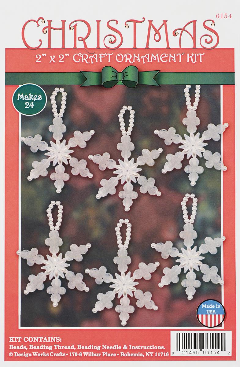 Набор для изготовления елочной игрушки Design Works Маленькие снежинки, 5 х 5 см, 24 шт