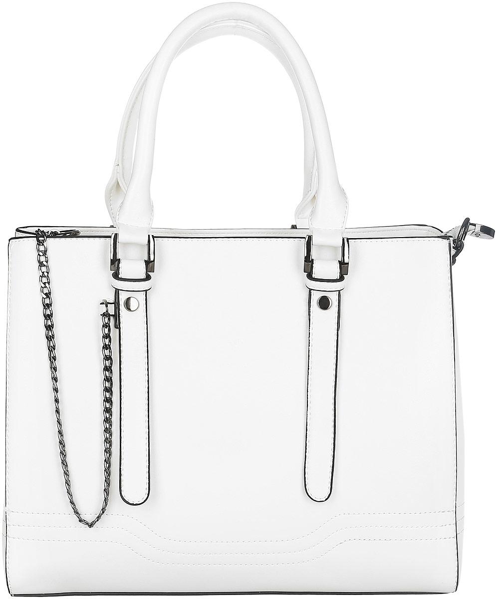 Сумка женская Flioraj, цвет: белый. 0005138100051381Стильная женская сумка Flioraj выполнена из искусственной кожи и имеет жесткую конструкцию. Модель оформлена контрастной окантовкой, металлической цепочкой и декоративной отстрочкой. Сумка состоит из одного основного отделения, закрывающегося на застёжку-молнию. Изделие содержит карман-средник на молнии, врезной карман на молнии и два накладных кармашка для мелочей и телефона. Сумка оснащена двумя удобными ручками и съемным плечевым ремнем регулируемой длины. Прилагается фирменный текстильный чехол для хранения изделия. Оригинальный аксессуар позволит вам завершить образ и быть неотразимой.